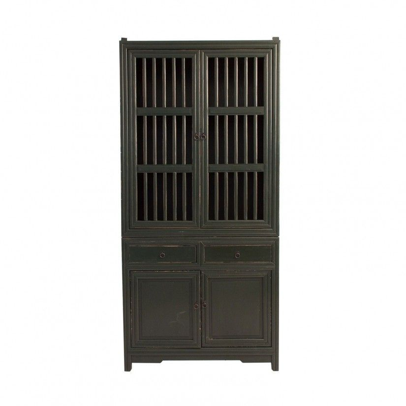 armario oriental negro antique frontal