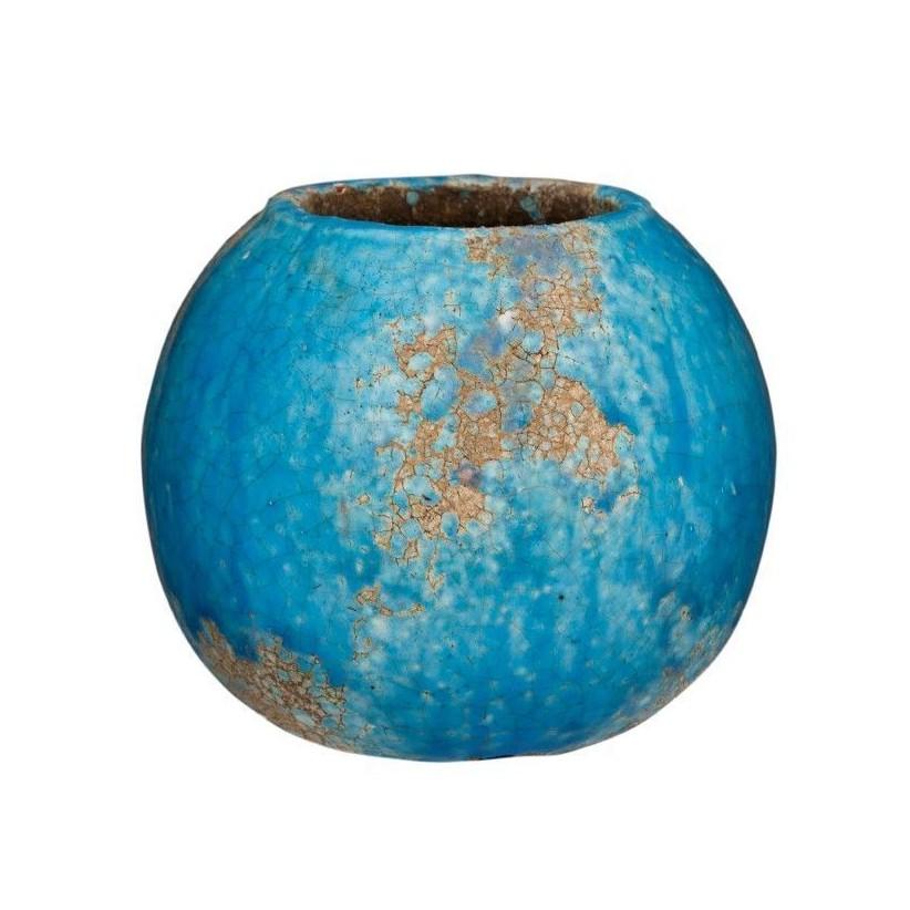 Portamacetas grande de cerámica azul volcán lisa
