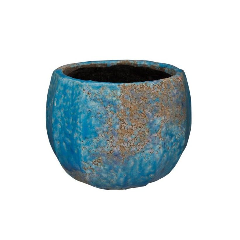 Portamacetas pequeño de cerámica volcánica azul efecto ondas