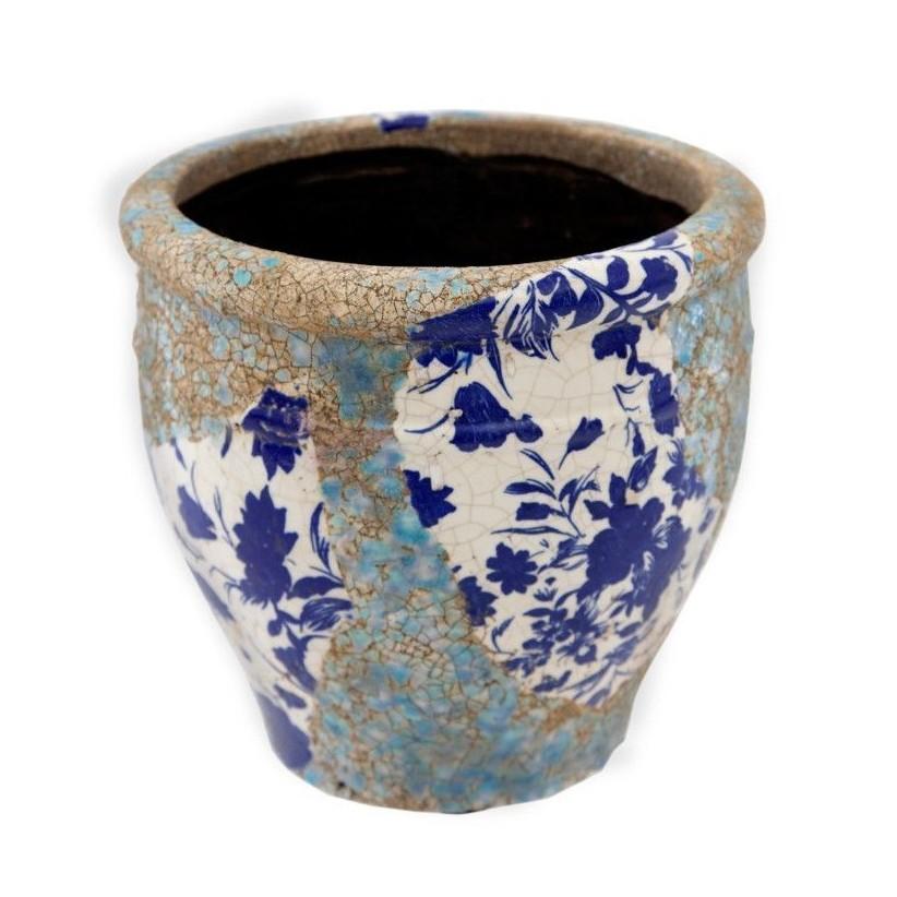 Portamacetas mediano ø20x20 cm de cerámica volcánica flores azules