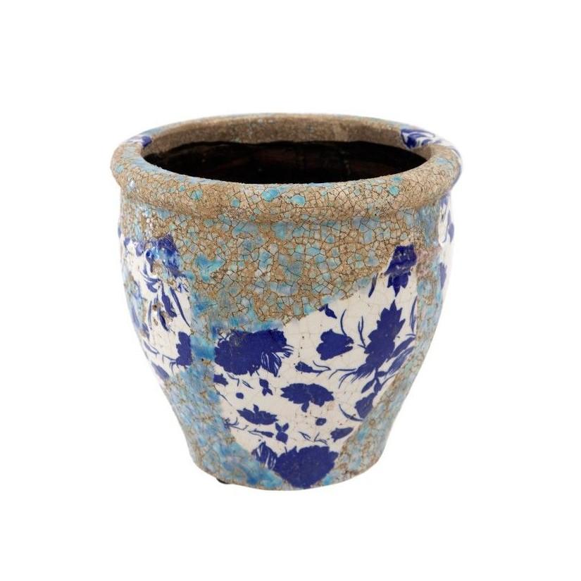 Portamacetas pequeño ø16x14 cm de cerámica volcánica flores azules
