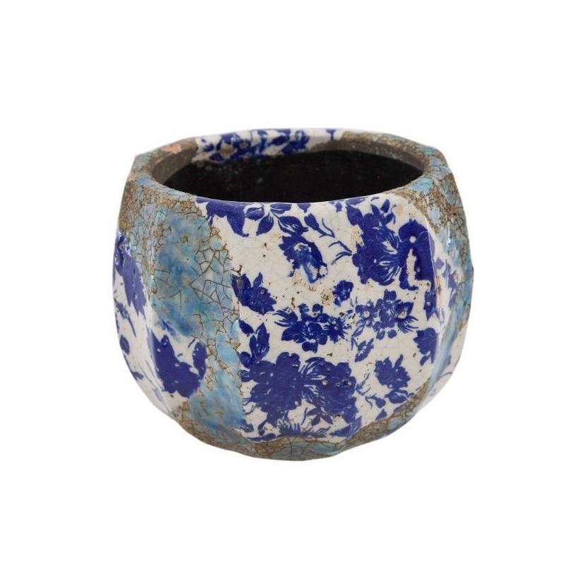 Portamacetas pequeño ø16x12 cm de cerámica volcánica flores azules