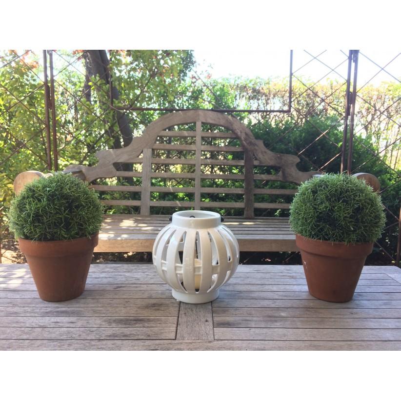 Farol cerámica calada bola. Ambiente