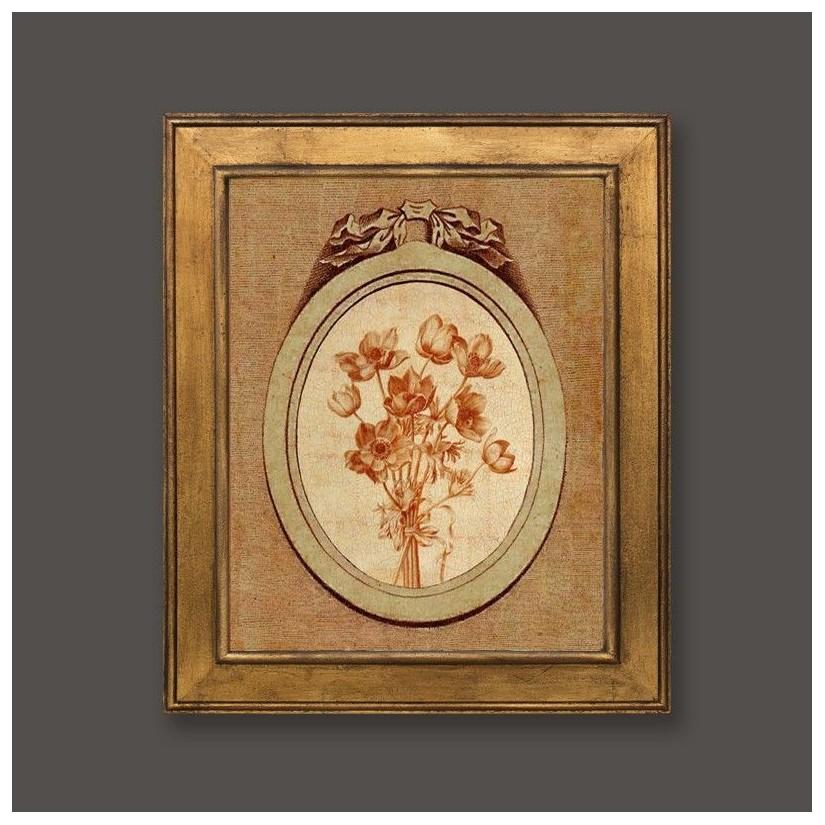 Cuadro en oro con medallón y motivo floral 1
