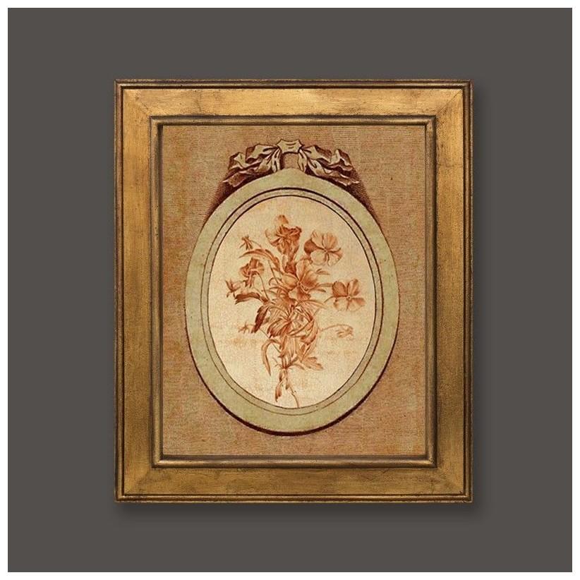 Cuadro en oro con medallón y motivo floral 2