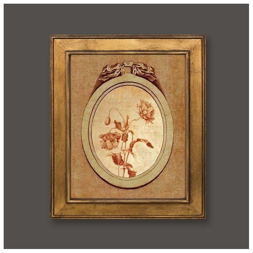 Cuadro en oro con medallón y motivo floral 3