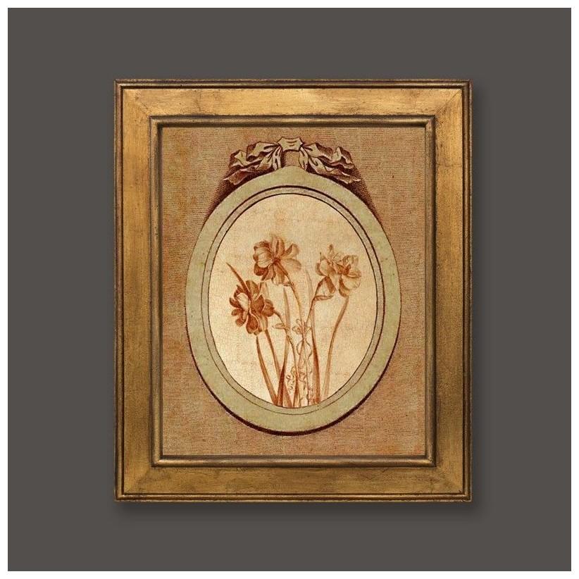 Cuadro en oro con medallón y motivo floral 4