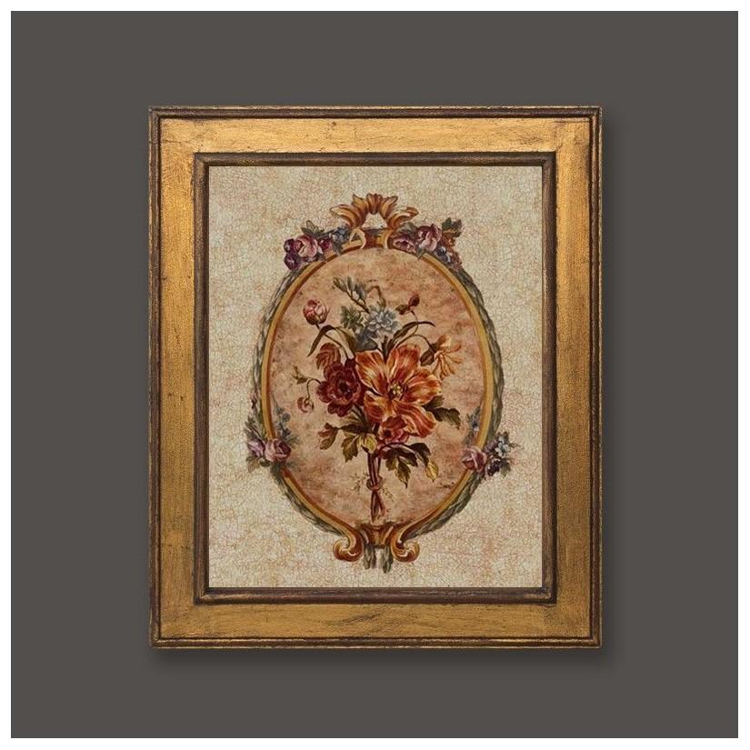 Cuadro oro con medallón floral romántico