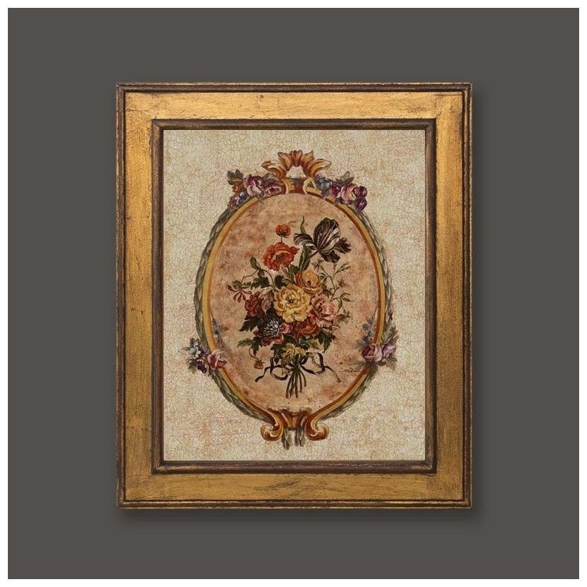 Cuadro oro con medallón floral romántico 2