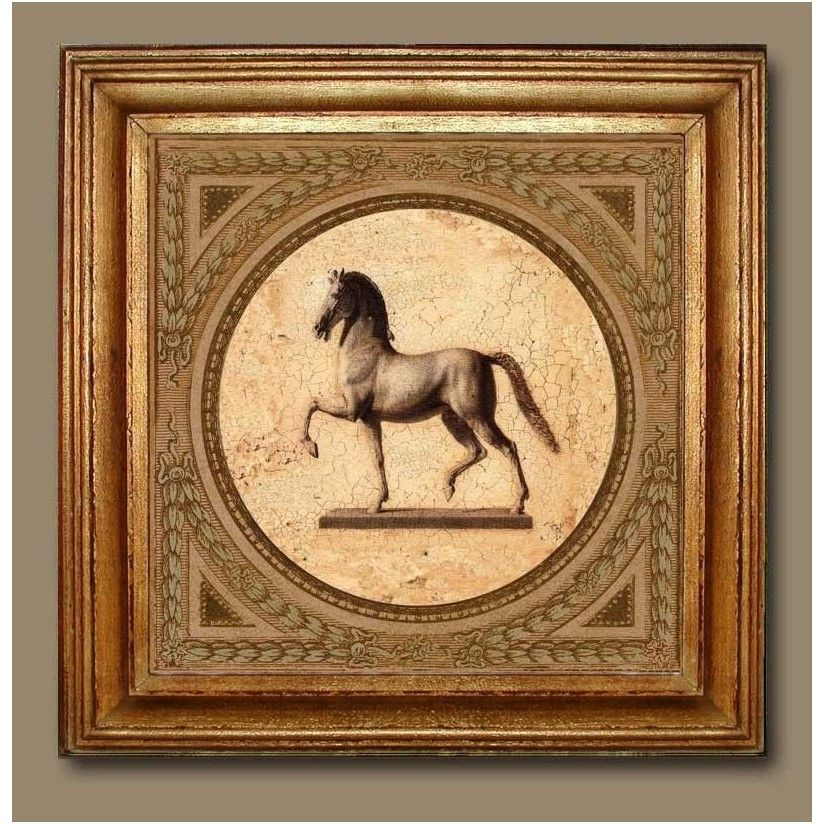 Cuadro oro figura caballo izquierda