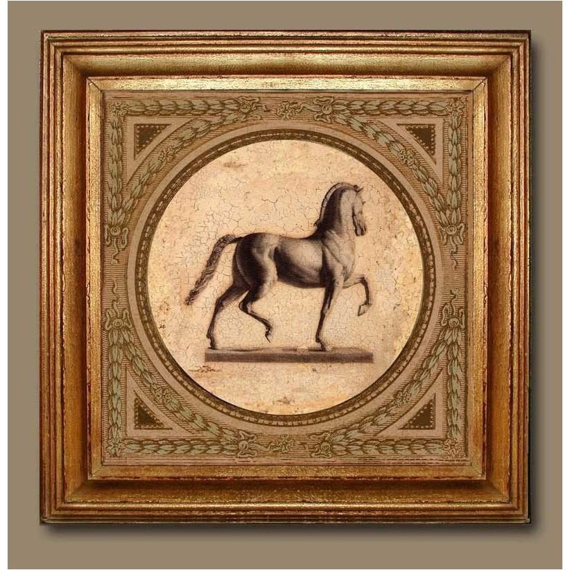 Cuadro oro figura de caballo derecha