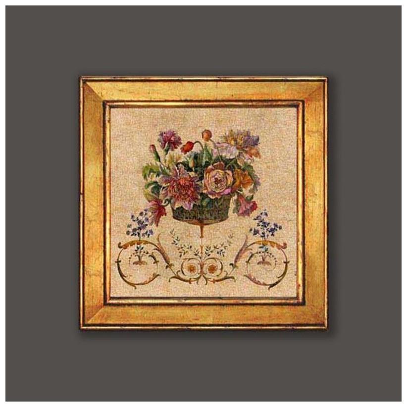 cuadro oro cesta flores