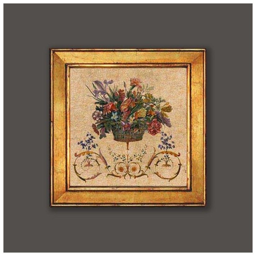 cuadro oro cesta flores 2
