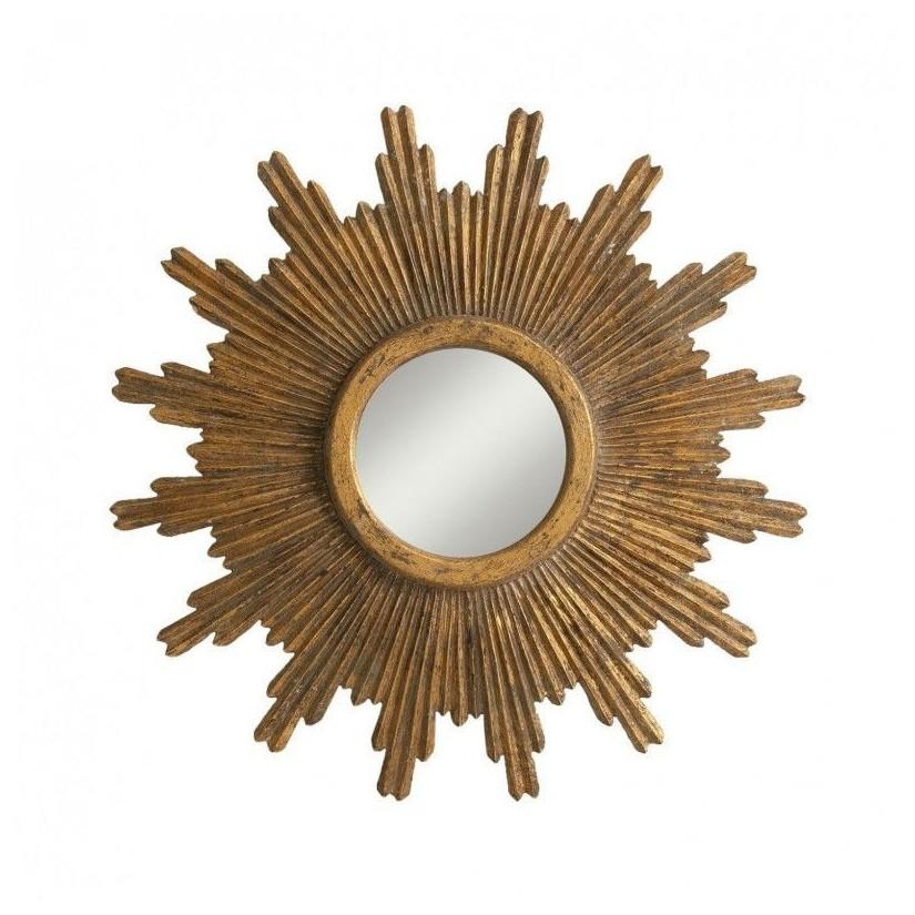 Espejo de sol dorado en madera