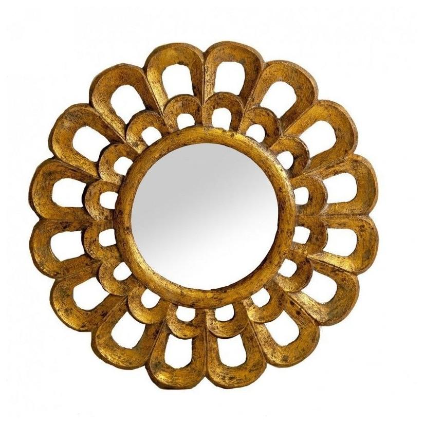 Espejo de madera decapado forma de sol