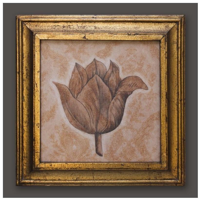 Cuadro oro flor estampado 3