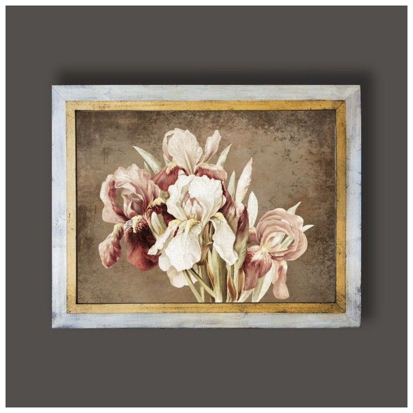 Cuadro oro y plata lirios rosas