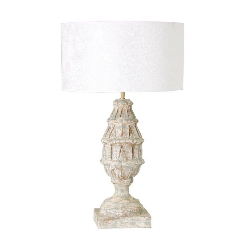 Lámpara de sobremesa madera de mango tallada