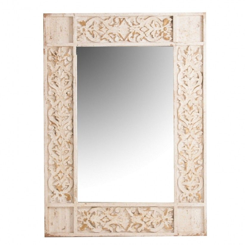 Espejo rectangular de madera tallada