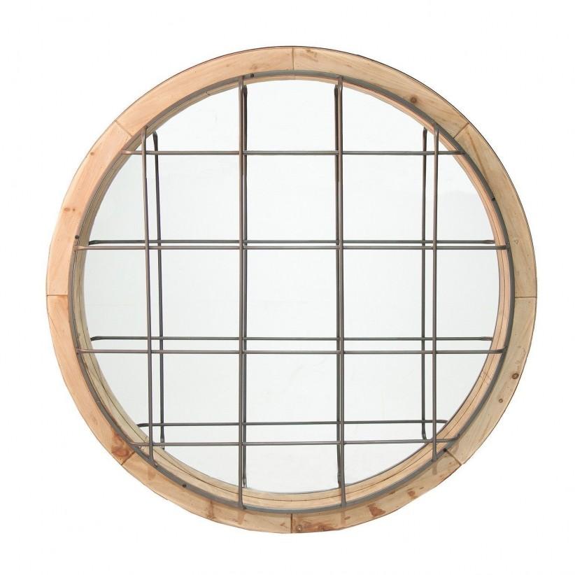Espejo redondo metal y madera