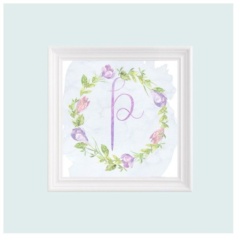 Cuadro blanco inicial guirnalda flores lila