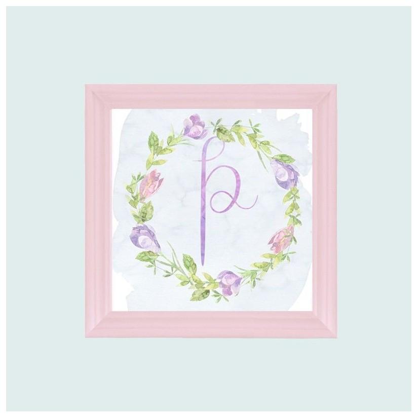 Cuadro rosa inicial guirnalda flores lila