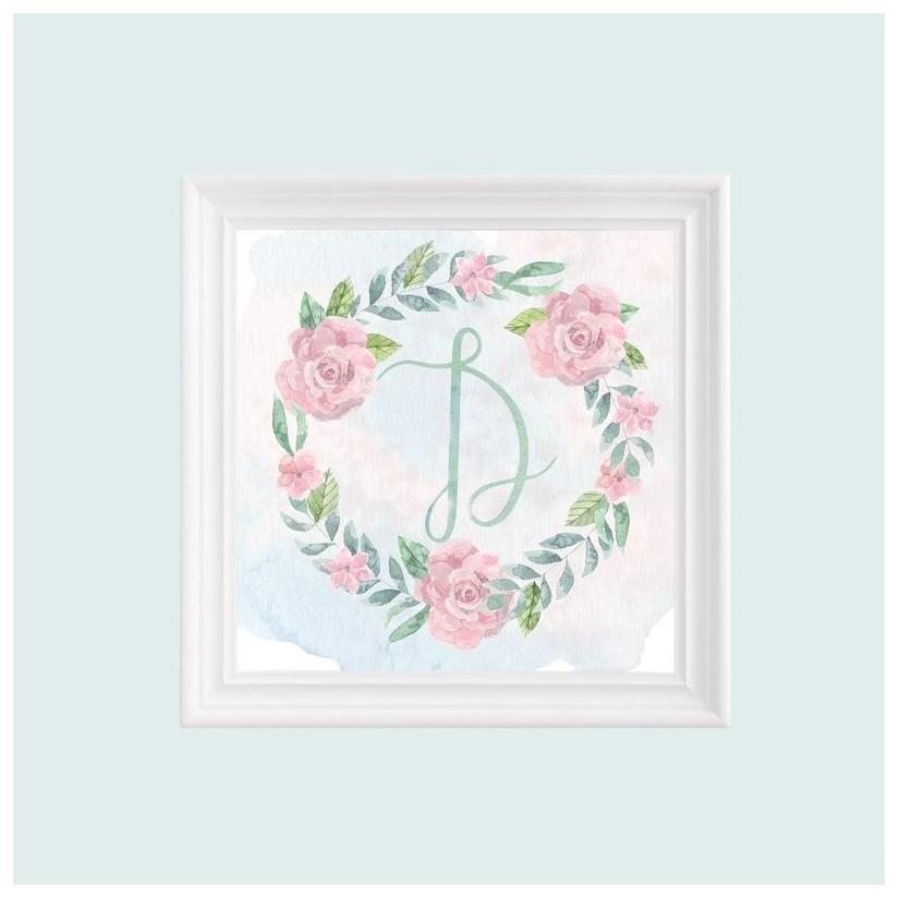 Cuadro blanco inicial guirnalda rosas