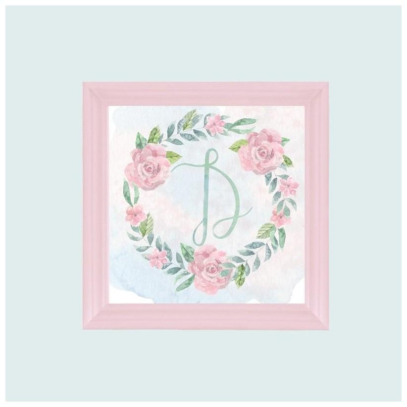 Cuadro rosa inicial guirnalda rosas
