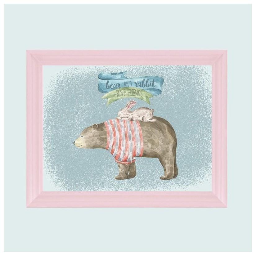 Cuadro rosa bear and rabbit