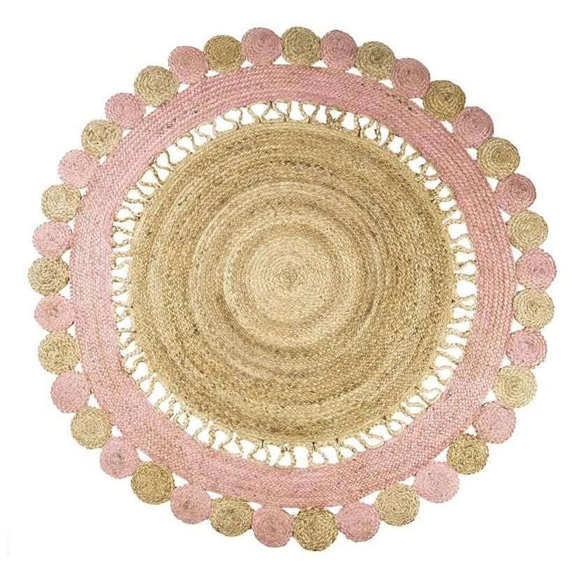 Alfombra yute natural-rosa