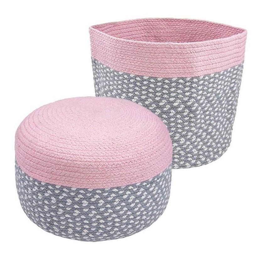 Puff y cesta algodón rosa para habitaciones de niños