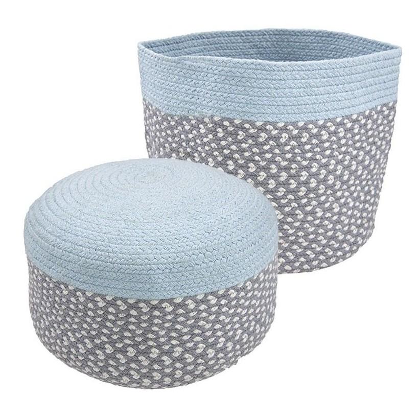 Puff y cesta algodón azul para habitaciones de niños