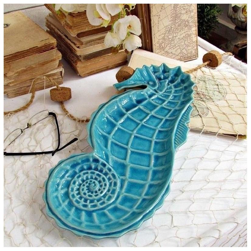 Fuente caballito mar cerámica turquesa