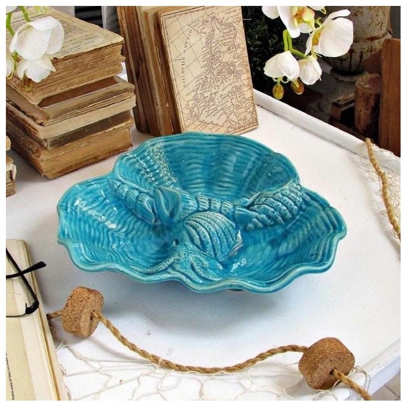 Fuente conchas cerámica turquesa