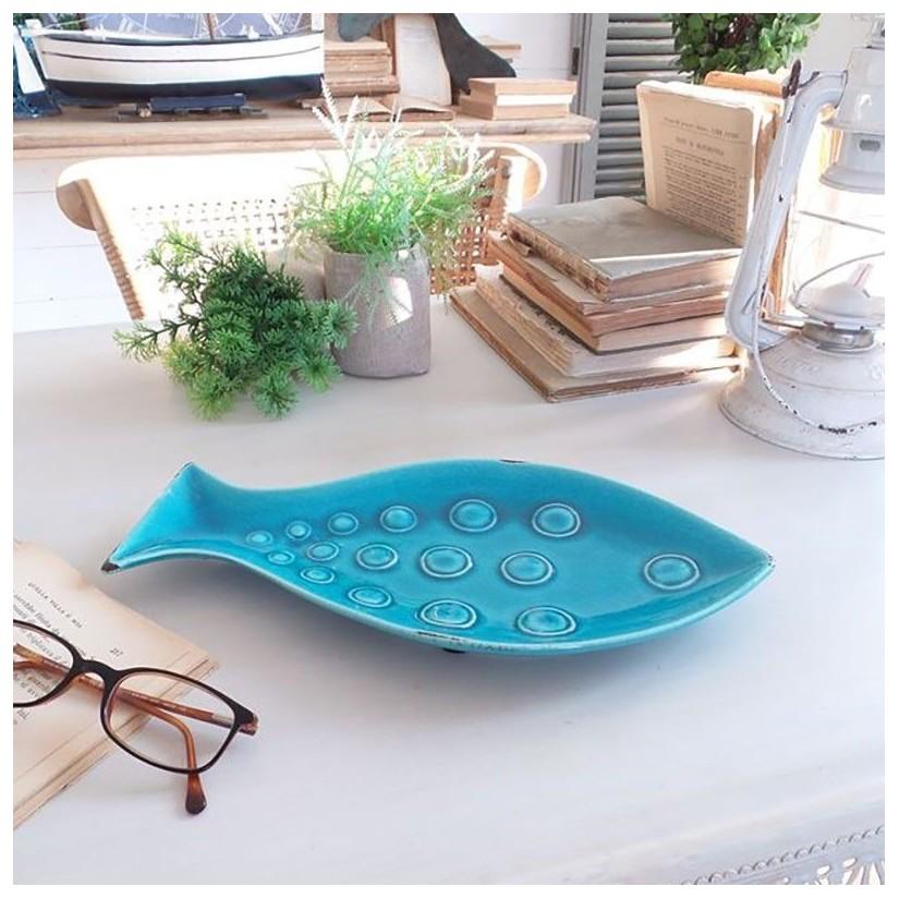 Fuente pez cerámica turquesa