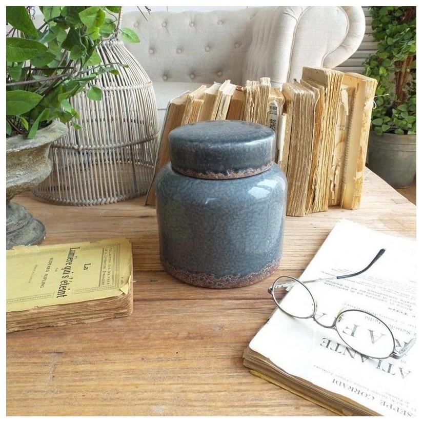 Tarro azul-gris de cerámica