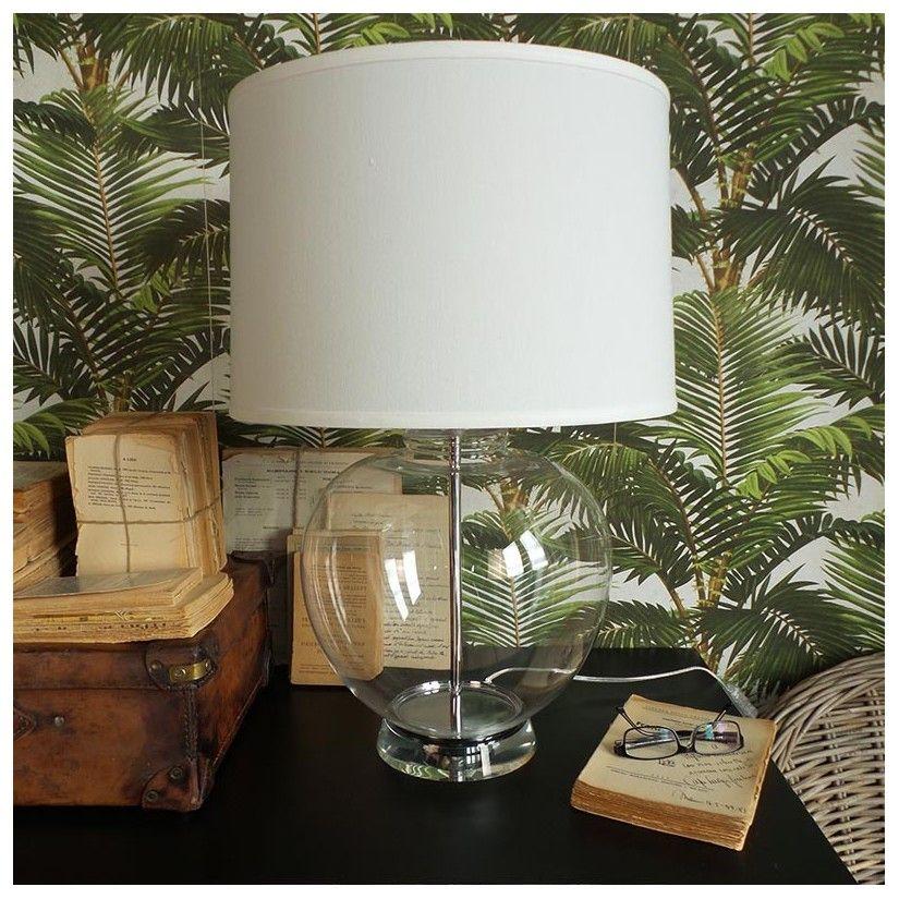 Lámpara sobremesa vintage cristal y acero