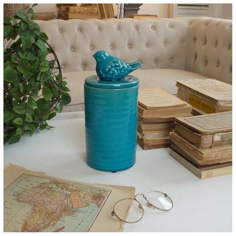 Tarro turquesa de cerámica pajarito