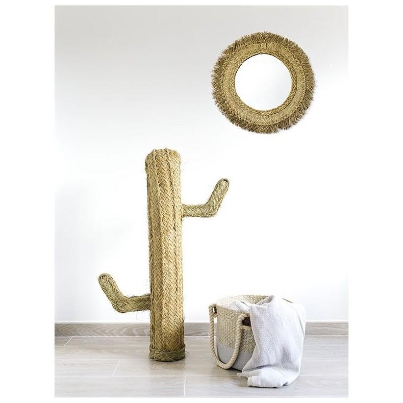 Espejo redondo esparto con cactus