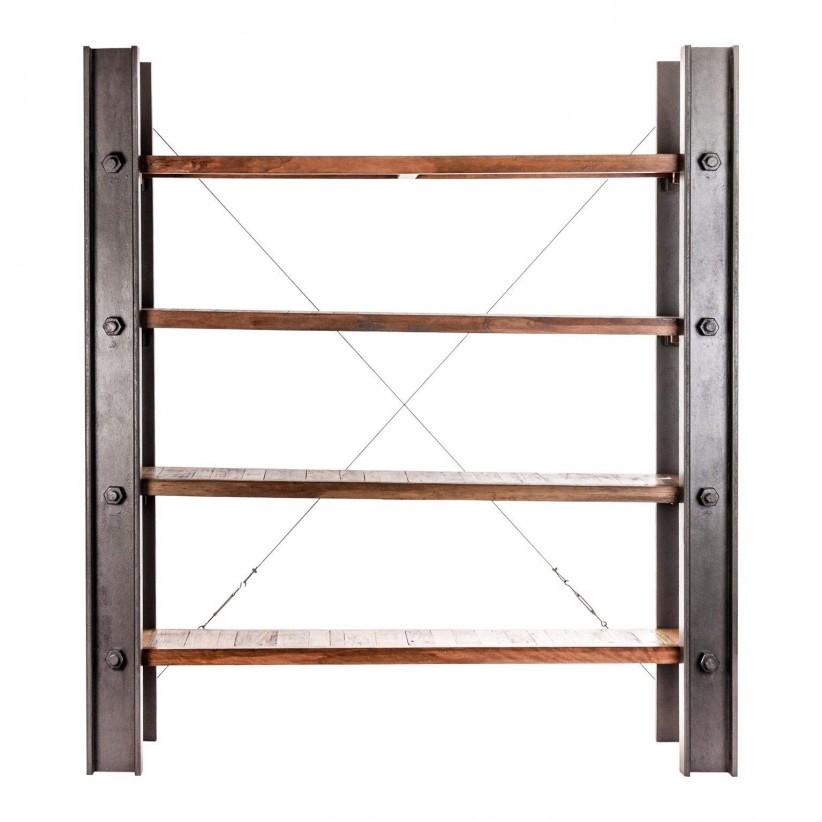 Estanteria industrial con vigas de metal y madera de mango