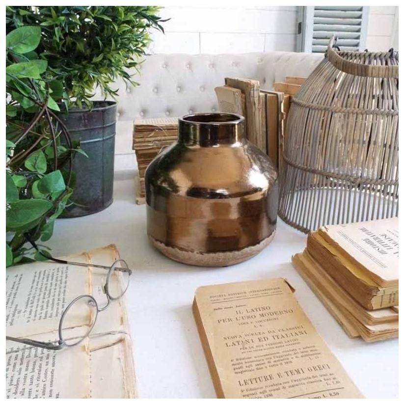 Jarrón de cerámica antique gold ancho
