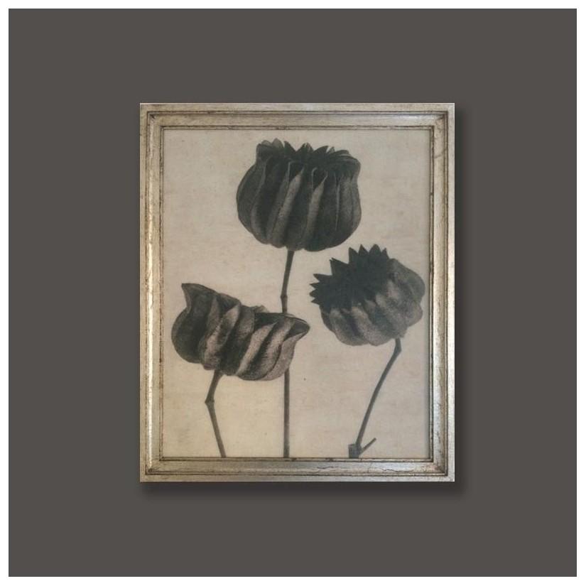 Cuadro plata motivo floral