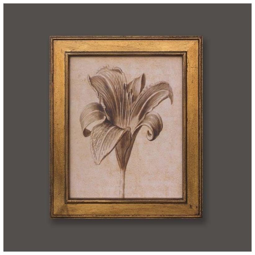 cuadro oro flor azucena