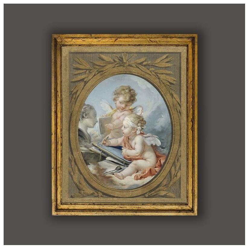 Cuadro oro alegoría de la pintura con angelitos