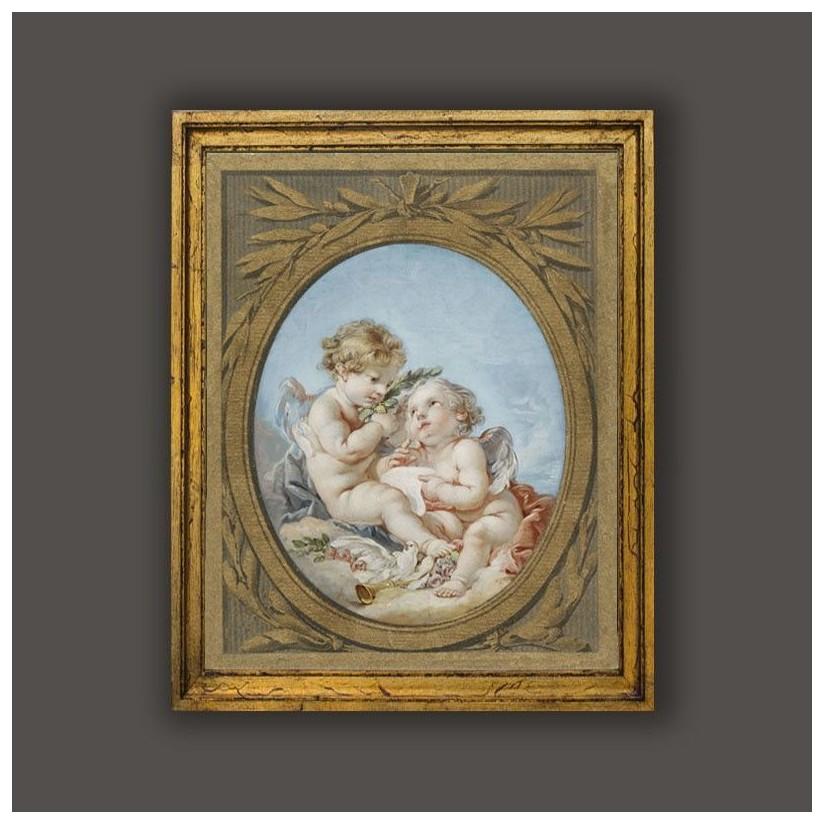 cuadro oro clásico angelotes. Alegoría de la poesía