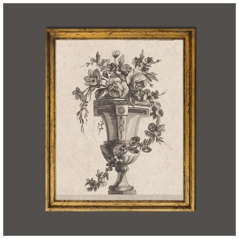 Cuadro de madera dorado a mano con motivo de vaso clásico romano con flores