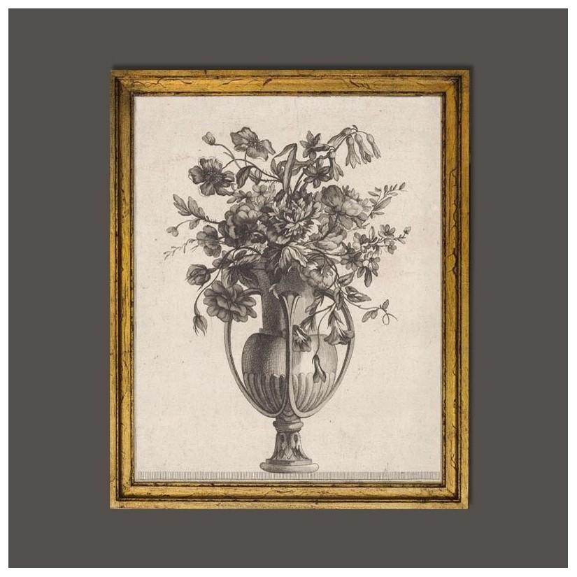 Cuadro de madera dorado a mano con motivo de jarrón clásico romano con flores