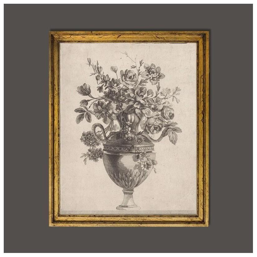 cuadro dorado a mano de jarrón clásico con flores