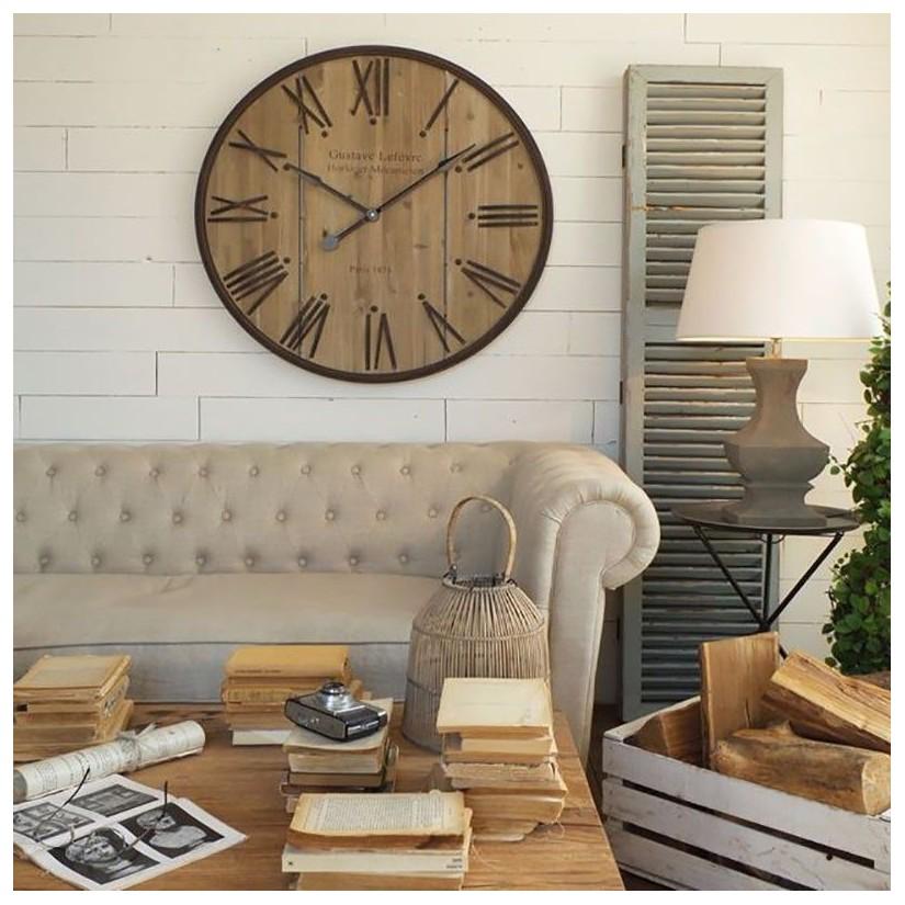 Comprar reloj de pared madera y hierro decoraci n y mesa - Relojes rusticos de pared ...