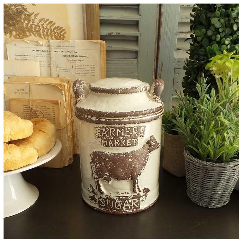 Tarro para azúcar cerámica granja